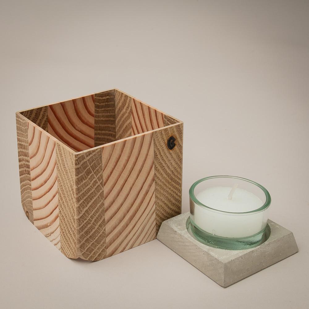 douglasie eiche 7x6cm holz windlicht mit glas. Black Bedroom Furniture Sets. Home Design Ideas