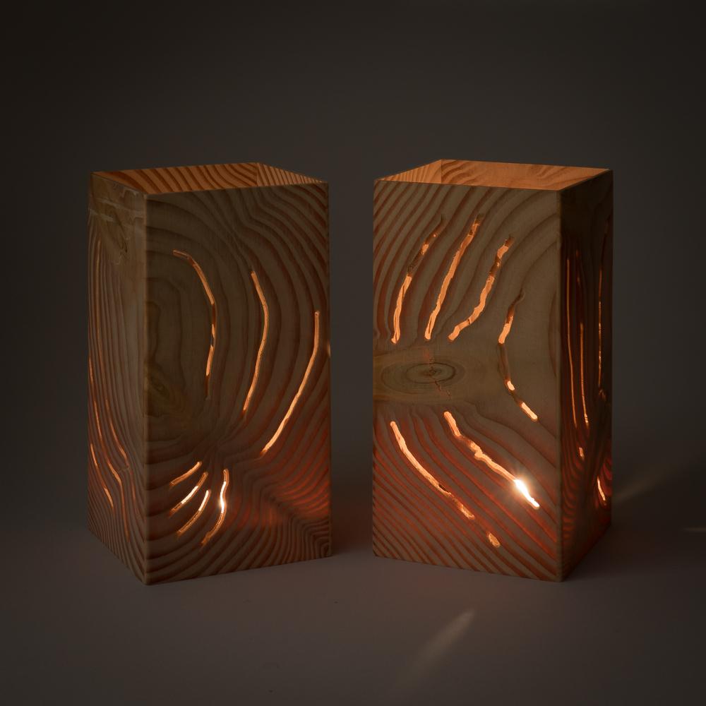 Paar Douglasie 7x14cm Holz Windlicht Mit Glas